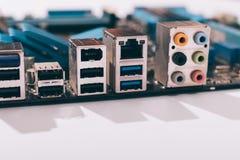 Close-up de conectores do cartão-matriz fotos de stock royalty free