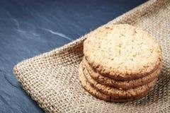Close up de cookies do biscoito da pilha Fotografia de Stock