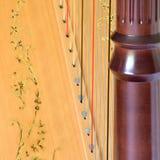 Close up de cordas e de soundboard da coluna da harpa do pedal Imagem de Stock