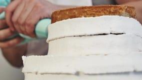 Close up de decorar um bolo com creme ao girar video estoque