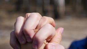 Close up de dois amantes que juntam-se às mãos A silhueta do detalhe da terra arrendada do homem e da mulher cede Conceito do amo filme