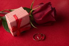 Close up de duas alianças de casamento do ouro com presente cor-de-rosa Fotos de Stock Royalty Free