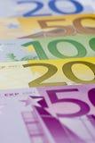 Close-up de euro- notas de banco Imagens de Stock