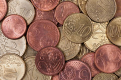 Close up de Eurocents. Fotos de Stock Royalty Free