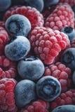 Close up de framboesas e de mirtilos congelados imagens de stock