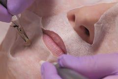 Close-up De handen van een cosmetologist in lilac handschoenen houden de elektroden op de kin van een vrouw Microcurrent gezichts stock afbeeldingen