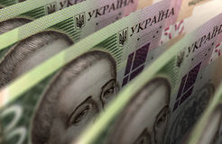 Close up de Hryvnia do ucraniano Imagem de Stock Royalty Free
