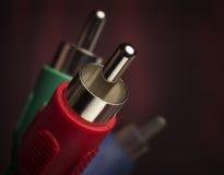Close up de jaques de RCA em um fundo vermelho Imagem de Stock