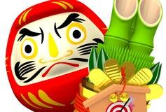 Close-up de Kadomatsu, boneca de Daruma Foto de Stock Royalty Free