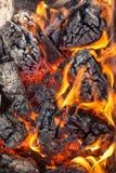 Close up de madeira de carvões imagem de stock