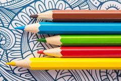 Close-up de madeira colorido dos lápis Imagem de Stock
