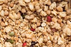Close-up de Mueslis seco foto de stock