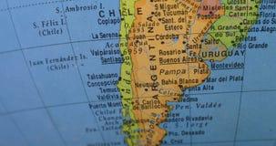 Close up de países de Ámérica do Sul no globo video estoque