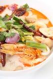 Close up de picante tailandês da sopa de Tom Yum foto de stock royalty free