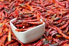 Close up de pimentas vermelhas secadas de baixo grau na bacia branca Imagem de Stock