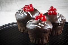 close-up de queques do chocolate com corinto vermelho imagem de stock royalty free