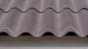 Close-up de telhas de telhado em casa A telha de telhado ondulada curvada da casa é feita prática e prudente Projeto prático do t imagem de stock