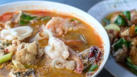 Close-up de Tom Yum Kung imagem de stock
