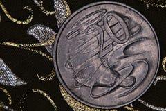 Close up de um australiano moeda de 20 centavos Foto de Stock Royalty Free