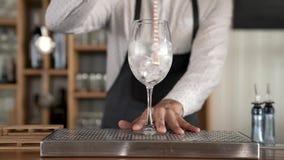 Close up de um barman que põe cubos de gelo em um vidro video estoque