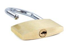 Close-up de um cadeado destravado que mostra o buraco da fechadura Fotografia de Stock Royalty Free