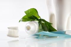 Close-up de um dentífrico erval na escova de dentes com o dente cerâmico saudável branco imagem de stock