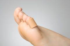 Close up de um emplastro no dedo do pé fêmea Fotografia de Stock Royalty Free