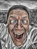 Close-up de um homem com cara cômico fotos de stock royalty free