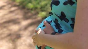 Close-up de um homem que abraça maciamente a barriga de sua esposa grávida amado filme
