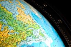 Close-up de um mapa de mundo Fotografia de Stock Royalty Free