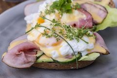 Close up de um ovo cozinhado imagens de stock