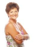Close-up de um sorriso maduro da mulher Fotos de Stock Royalty Free