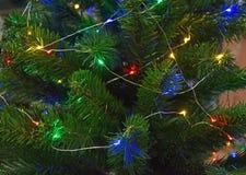 Close-up de uma árvore de Natal com luzes coloridas Fotos de Stock