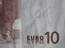Close up de uma conta de papel moeda usada do Euro 10 Fotos de Stock