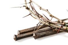 Close up de uma coroa de espinhos e de pregos foto de stock
