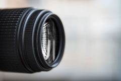 Close-up de uma lente de câmara digital Grande copyspace Imagem de Stock