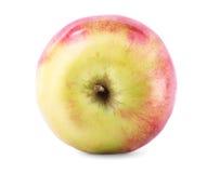 Close-up de uma maçã vermelho-amarela perfeita, isolado em um fundo branco Fruto suculento, nutritivo, brilhante Verão doce foto de stock