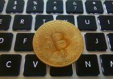 Close up de uma moeda do bitcoin da moeda de ouro fotos de stock royalty free