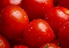 Close up de uma pilha de tomates de cereja molhados foto de stock