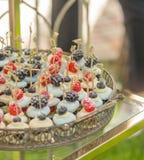Close-up de uma placa bonita grande de sobremesas francesas tradicionais do bolinho de amêndoa com as bagas e os frutos enchidos  imagens de stock