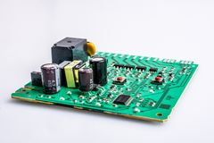 Close-up de uma placa de circuito verde imagem de stock royalty free