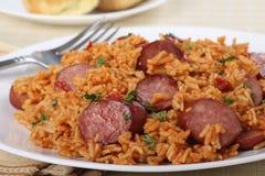 Comensal da salsicha e do arroz fotos de stock