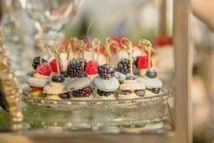Close-up de uma placa de sobremesas francesas tradicionais do bolinho de amêndoa com bagas e frutos com o enchimento de creme pre imagens de stock royalty free