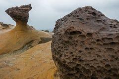 Close-up de uma rocha do cogumelo no Yeliu Geopark Fotografia de Stock