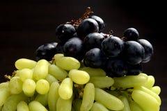Close up de uvas pretas e verdes Imagem de Stock Royalty Free