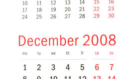 Close up of December 2008. From calendar Stock Images