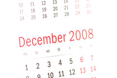 Close up of December 2008 from calendar Royalty Free Stock Image