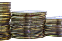 Close Up of Decending Stacks of Grungy Compact Disks stock photo