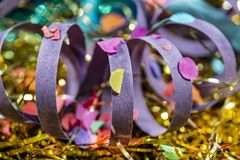 Close-up of decorated carnival and parties with serpentine royalty free stock image