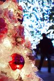 Close-up decorated christmas tree with bokeh lights on backgroun Stock Images